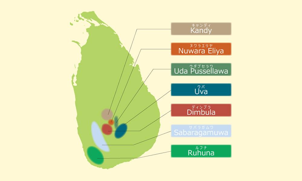 スリランカ島 農園地図